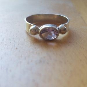 Purple Amethyst Sterling Silver Ring. Size 6